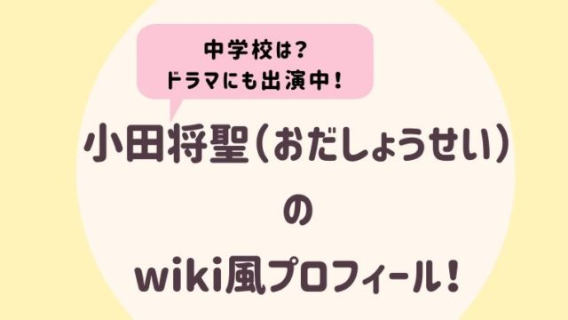 小田将聖のwiki風プロフィール2