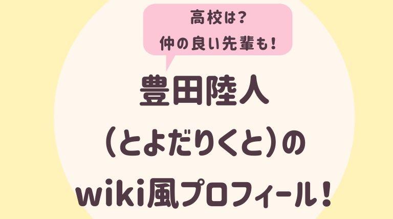 豊田陸人のwiki風プロフィール2